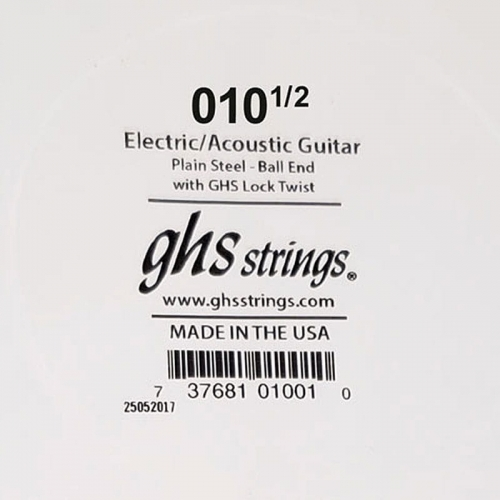 GHS Boomers plain acoustic / electrick guitar single string 010 1/2