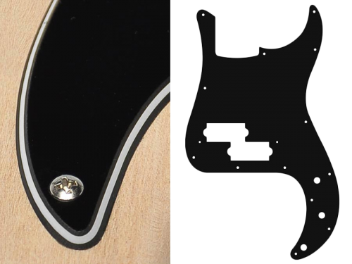 BOSTON Vintage Precision Bass Pickguard, 3-ply (black)