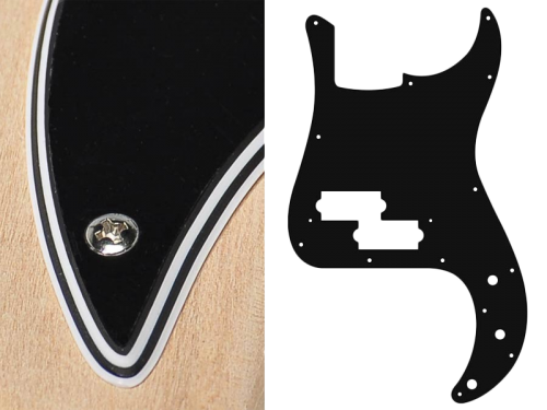 BOSTON Vintage Precision Bass Pickguard, 4-ply (black)