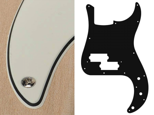 BOSTON Vintage Precision Bass Pickguard, 3-ply (vintage white)