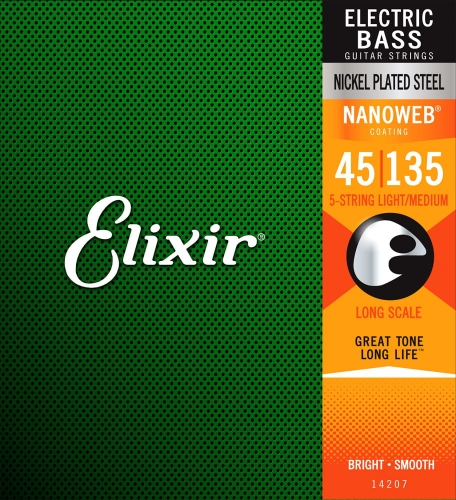 ELIXIR NanoWeb Nickel Plated 5str bass strings (45-135)